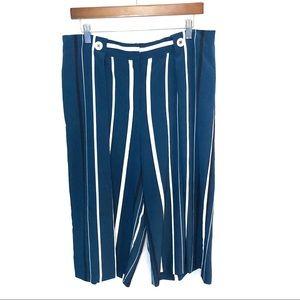 Zara Wide Leg Blue and White Striped Culottes